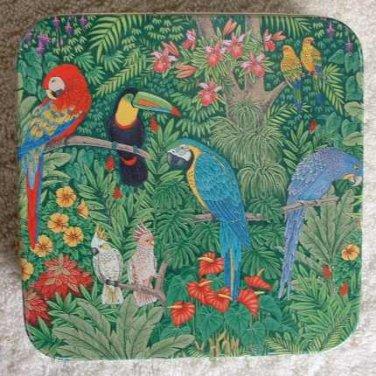 Colorful Tin Box Keller Charles Parrot Cockatiel Tucan Birds Vintage Keller-Charles