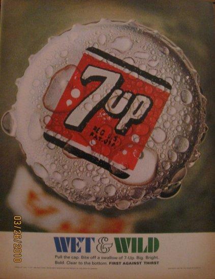 7up 1967 Authentic Bottle Cap Print Ad