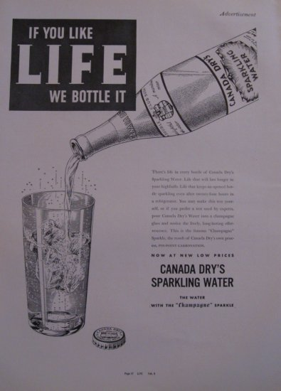 Canada Dry Sparkling Water 1937 Authentic Print Ad