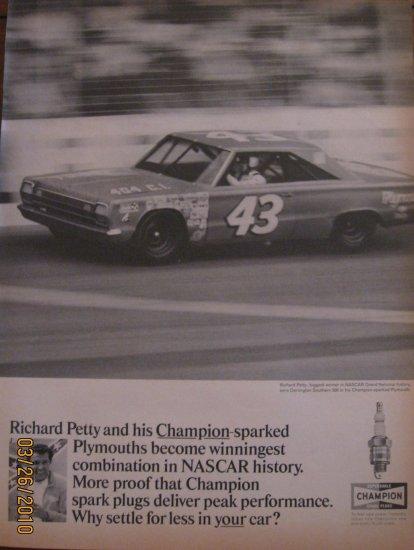 Champion Spark Plugs 1967 Richard Petty Authentic Print Ad