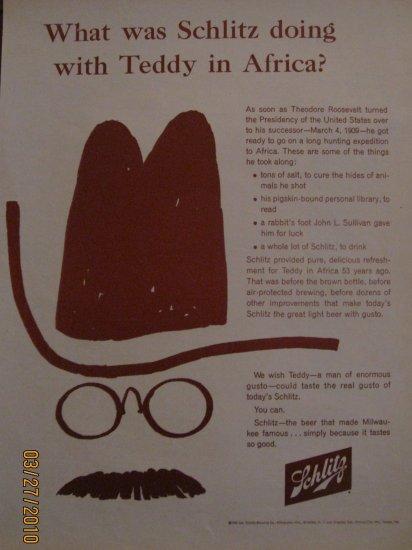 Schlitz Beer 1963 Authentic Print Ad