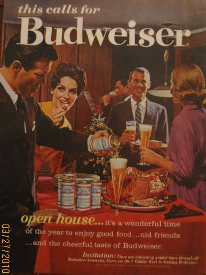 Budweiser Beer 1962 Authentic Print Ad