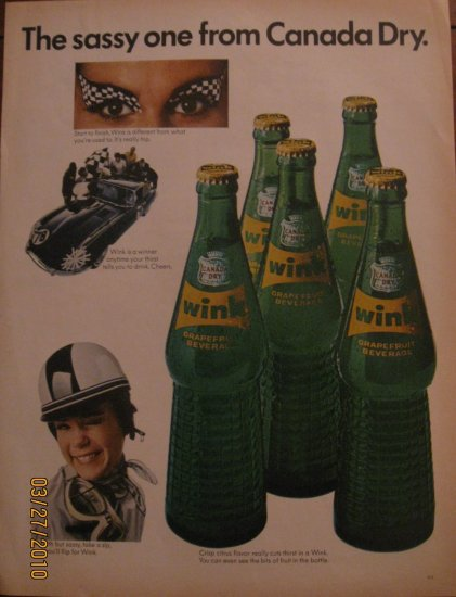 Canada Dry Wink Race Car 1967 Authentic Print Ad
