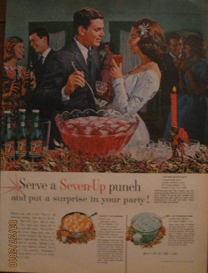 7up 1962 Authentic  Print Ad