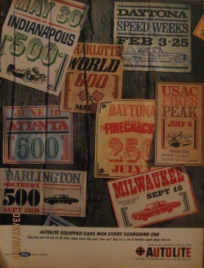 Autolite Racing 1962 Authentic Print Ad