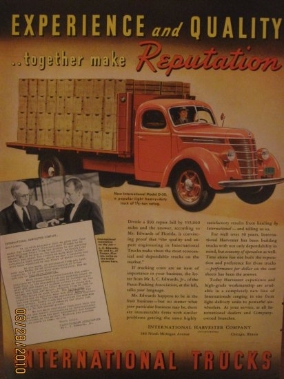 International Trucks 1938 Authentic Print Ad