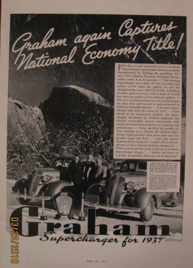 Graham Supercharger 1937 Authentic Print Ad