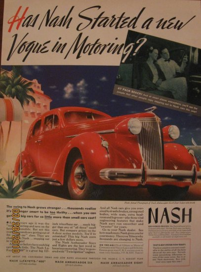 Nash 1937 Authentic Print Ad