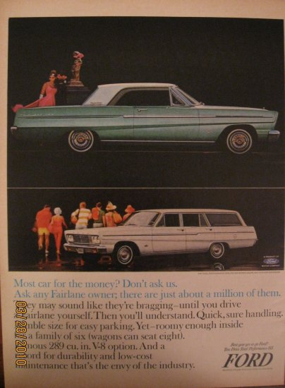 Ford Fairlane 500 1964 Authentic Print Ad