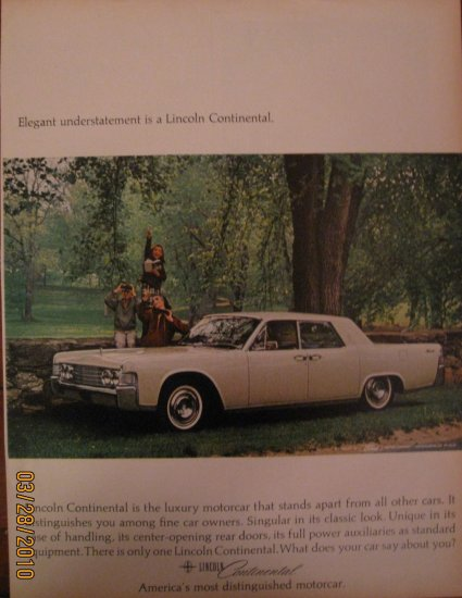 Lincoln Continental 1964 Authentic Print Ad