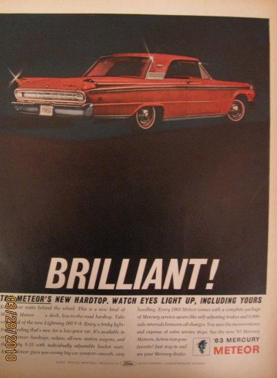 Mercury Meteor 1962 Authentic Print Ad