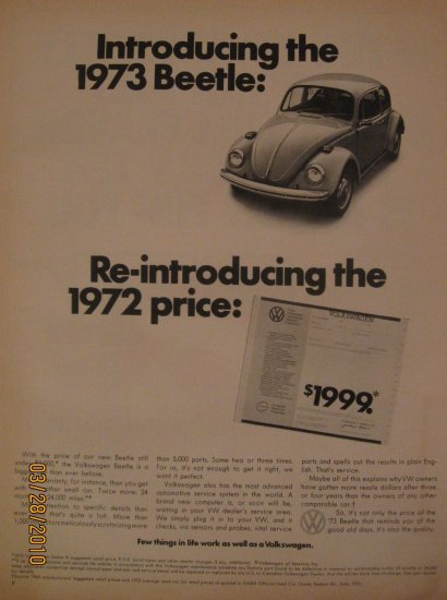 Volkswagen Beetle 1972 Authentic Print Ad