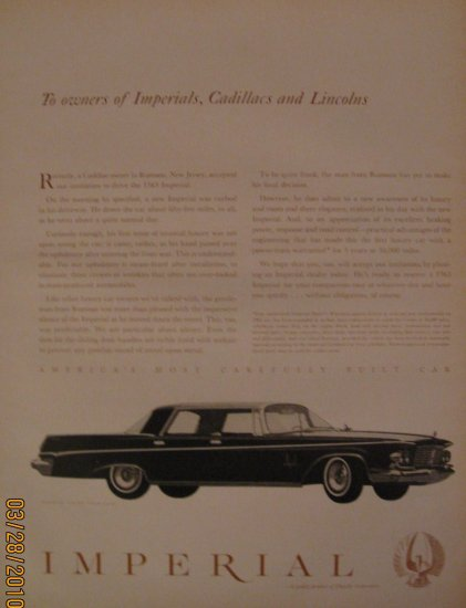 Imperial Crown 1962 Authentic Print Ad