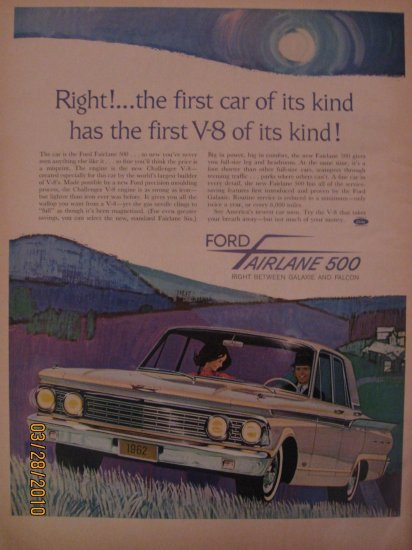 Ford Fairlane 500 1961 Authentic Print Ad