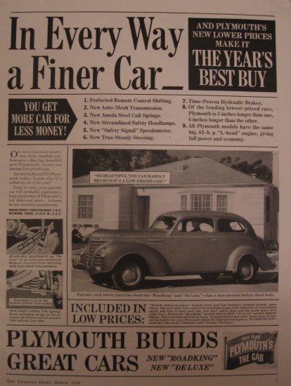 Plymouth 1939 Authentic Print Ad