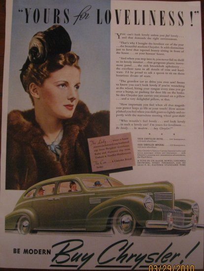 Chrysler Imperial 1939 Authentic Print Ad