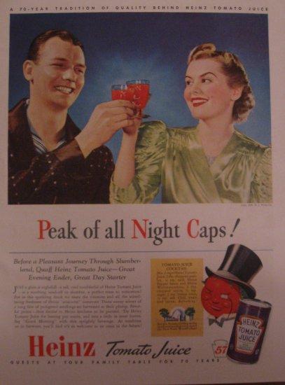 Heinz Tomato Juice 1939 Authentic Print Ad