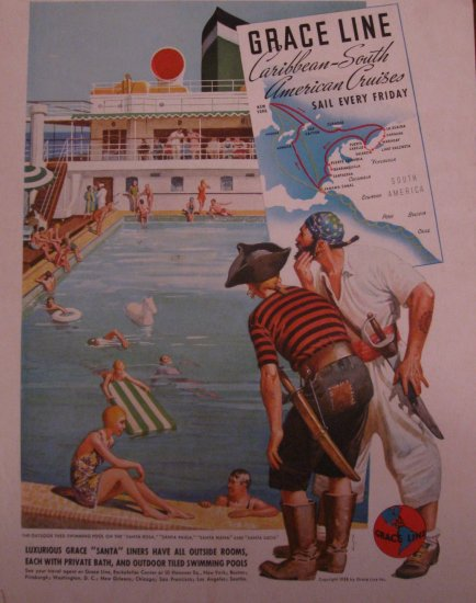 Grace Line Cruises 1938 Authentic Print Ad