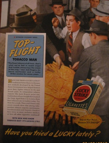 Lucky Strikes Cigarettes 1939 Authentic Print Ad