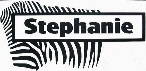 Zebra Print Kids Wall Name Sticker Personalized Removab