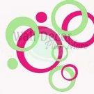 Wall Decor 40+Sticker Circle Bubbles Hot Pink & Mint Gr