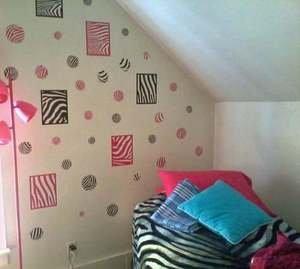 Zebra Animal Kids Wall Decor Sticker Square Black Pink