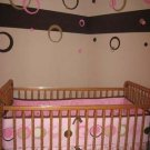 Girl Wall Decor 50+pc Rings Circle Dots Sticker  H Pink