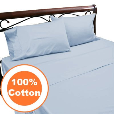 ROYAL EGYPTIAN COTTON TWIN LIGHT BLUE 7PC SET 1000TC