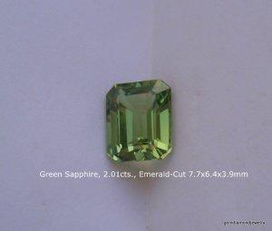 Green Sapphire, 2.00cts., Em-Cut 7.7mm x 6.4mm x 3.9mm