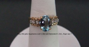 Ring 14kt gold, Aquamarine oval=1.40ct