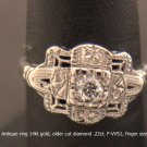 Antique diamond ring 14kt gold, very fine older diamond .22ct. F-VS1,