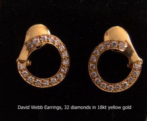 David Webb Earrings, 32 diamonds in 18kt yellow gold
