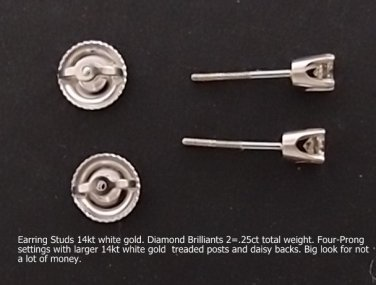 Earring Studs 14kt white gold diamonds 2=.25ct