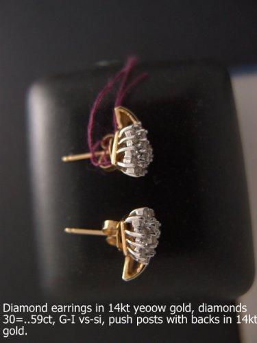 Diamond earrings in 14kt yeoow gold, diamonds 30 =..59ct