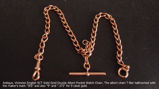 Pocket Watch Chain, Victorian English 9 carat Solid Gold 35.6 cm