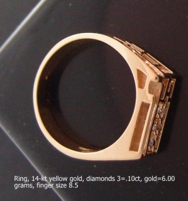 Ring, 14-kt yellow gold, diamonds 3=.10ct,