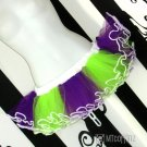 Purple Green Retro 80's Stripe Adult TuTu Tulle Skirt Large