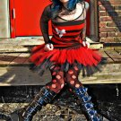 DIY Gothic Black Red Tulle Adult TuTu Skirt Nurse Faerie Medium