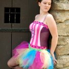 Trashy Neon Rainbow Retro 80's Cyber Adult TuTu Tulle Skirt Small