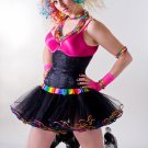 80's Cyber Neon Retro Black Rainbow Adult TuTu Tulle large