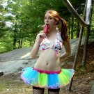 Neon Striped Green Blue Kawaii Cosplay Adult TuTu Cyber Small