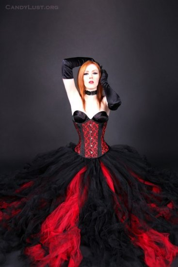 Red Formal Gothic Wedding Tulle Skirt Adult small
