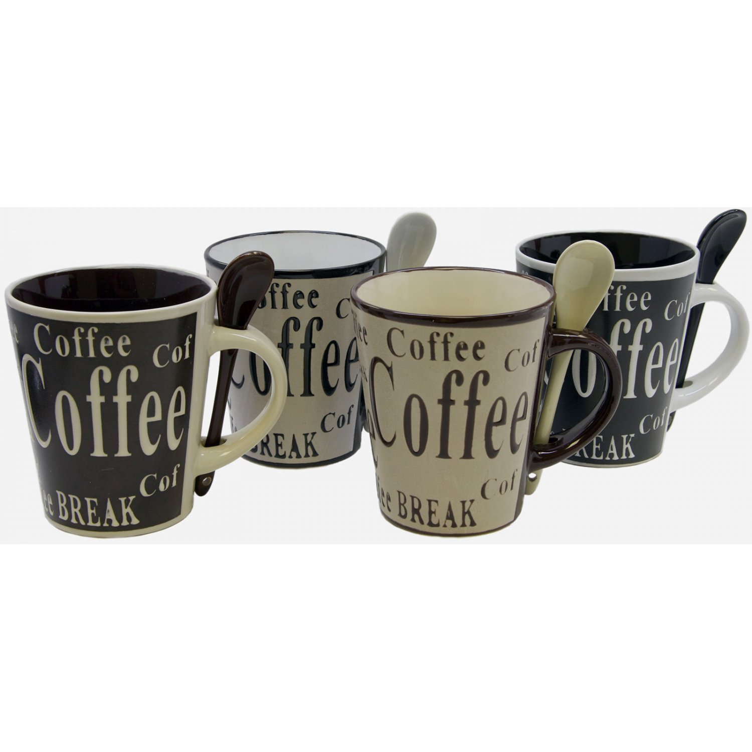 Gibson Bareggio 4 Designs Total 8 Piece Coffee Set with Spoons 4 Cups 4 Spoons