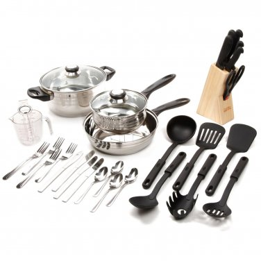 Gibson Lybra 25 Pc Cookware And 7 Pc Knife Cutlery Block Combo Set Total 32 Pc