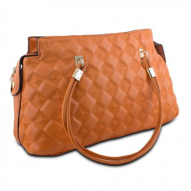 Mad Style Embossed Satchel Womens 5 Pocket Handbag Purse Orange with Gold Detail