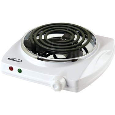 Brentwood Electric Single Burner Range White Color with Thermal Fuse