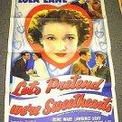LET'S PRETEND WE'RE SWEETHEARTS 3-Shet Poster LOLA LANE