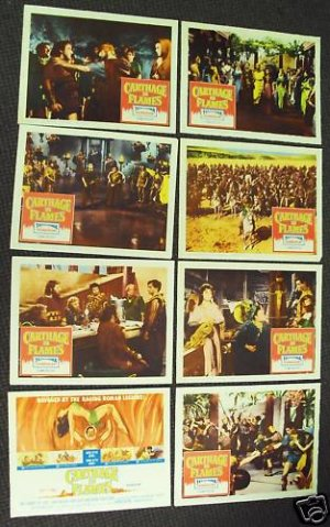 CARTHAGE IN FLAMES Lobby Card SET  Sword & Sandals 1961