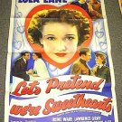 IN PARIS, A.W.O.L Original 1936  Poster LOLA LANE Heart