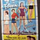 FOUR GIRLS IN TOWN Cheesecake Pin-up 1-Sheet POSTER  Grant Williams George Nader